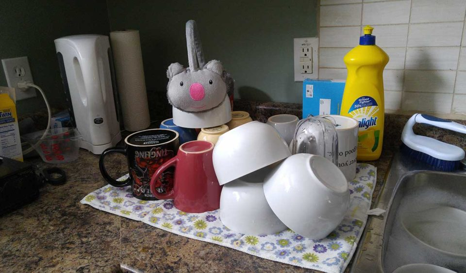 Dishes drying