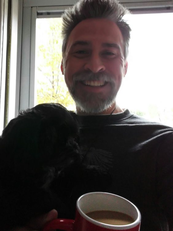 A dog and a coffee