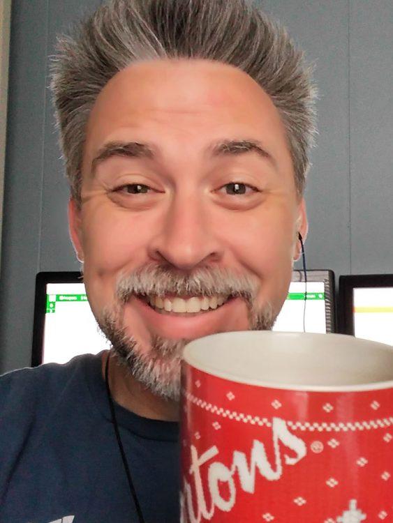 Sunday morning smiling coffee