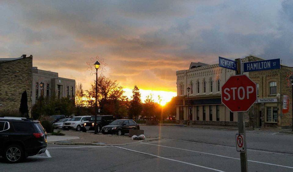 Sunset over the square