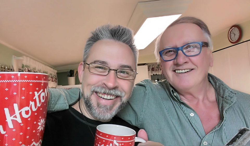 Dad and I over early morning coffee