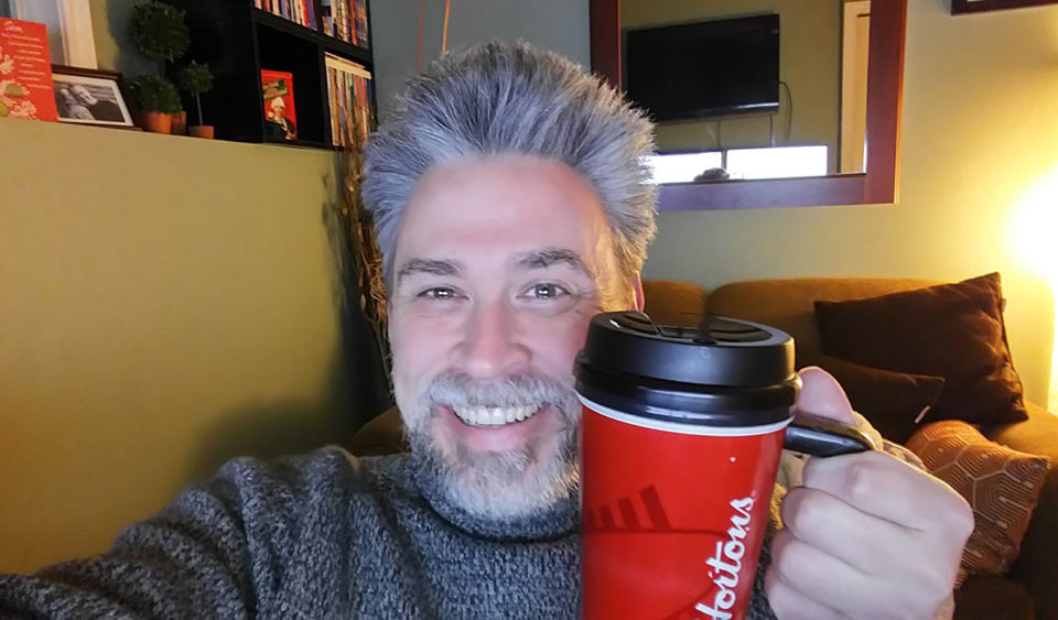 A Tuesday morning coffee with long hair