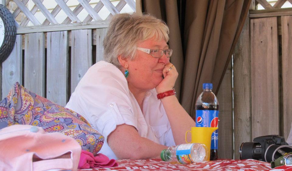 Mom at picnic table